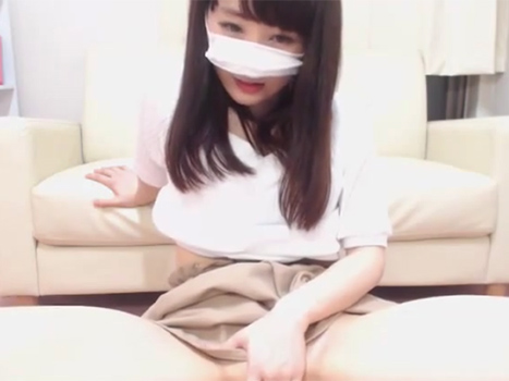 【個人撮影】正統派美人なお姉さん系素人がライブチャットで巨乳あらわに手マン自慰実況