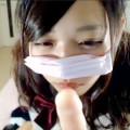 【ライブチャット】制服を着たJKみたいなロリ顔素人が生乳露出でディルドをエロフェラ!